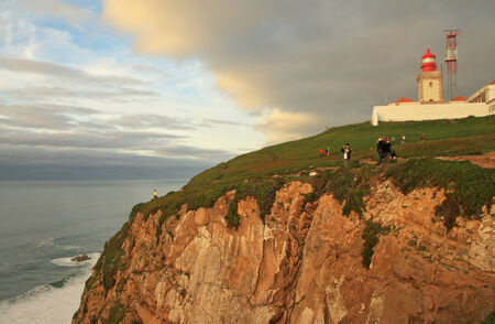 leading light: Lighthouse in the most west point of the Europe  Cabo da Roca, Portugal