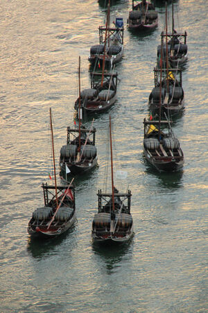 Boats with tun of portwine on river Douro  Porto, Portugal