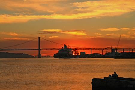 Sunset on river Tejo  Lisbon, Portugal   photo
