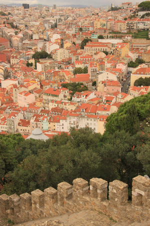 Panoramic downtown Lisbon  Portugal , as seen from Alfama, in Sao Jorge Castle