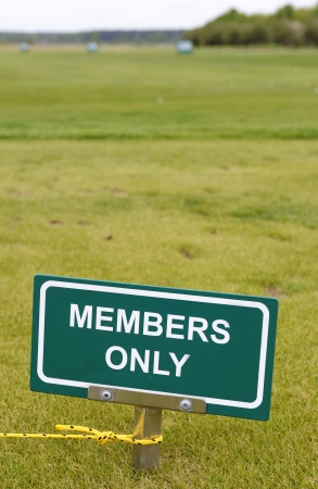 members only: Members only green sign at the golf course Stock Photo