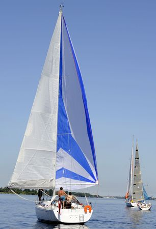 Sailing yachts is catching the wind Stock Photo