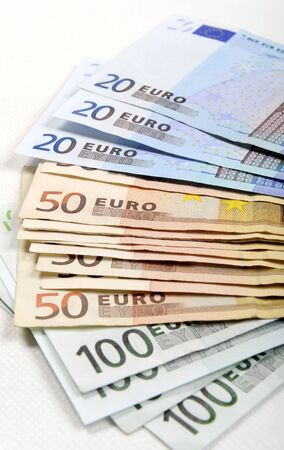 Euro money banknotes, isolated Stock Photo