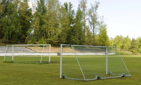 Soccer goalposts, Football goal and pitch Stock Photo