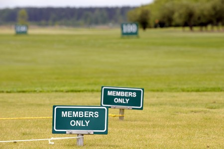 Members only green signs at the golf course