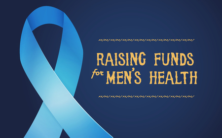 Postcard and poster - raising funds for mens health. Vector illustration. Prostate cancer blue ribbon. Illustration