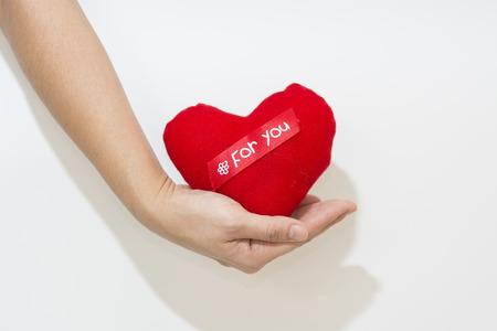 Hand und Herz isoliert auf der weißen Hintergrund Standard-Bild - 47286445