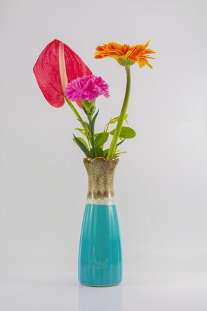Vase und Blume zu isolieren, auf dem weißen Hintergrund. Standard-Bild - 48217410