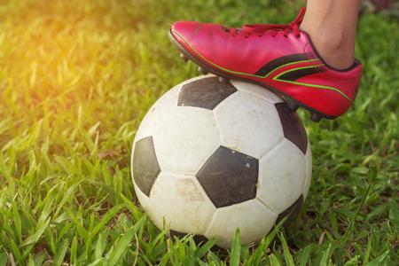 Fußball und Fuß auf die Gier Gras. Standard-Bild - 49117574