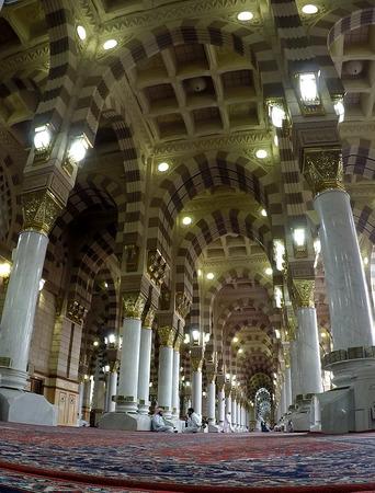 MADINAH, SAUDI ARABIA, April 7 2017 - Fish eye view inside mosque Nabawi.