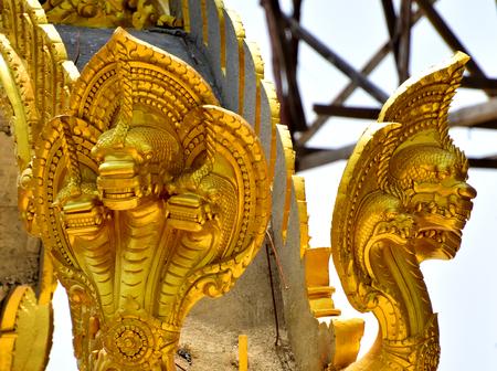 stucco: golden Stucco Thailand Stock Photo