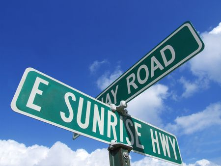freeport: Here is a street sign on SUNRISE highway Stock Photo