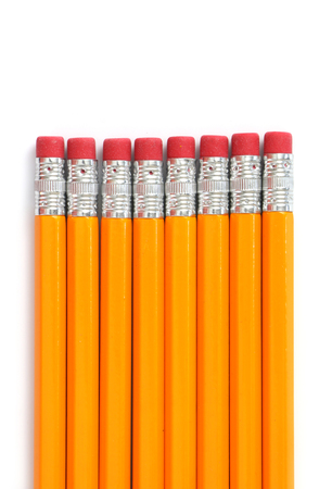 yellow on line: Wooden Pencils on white background Stock Photo