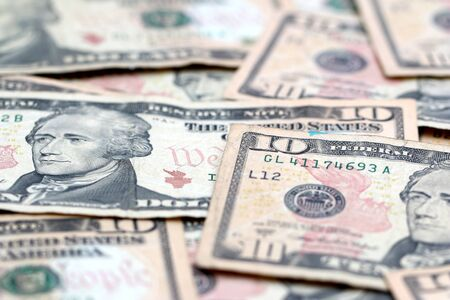 ten: Ten Dollar Bills Stock Photo