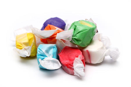 Saltwater Taffy on a White Background