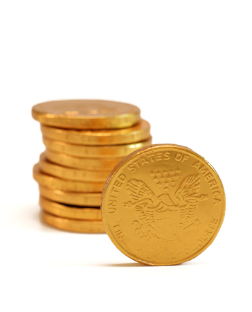 pile of coins: Chocolate Gold Coins