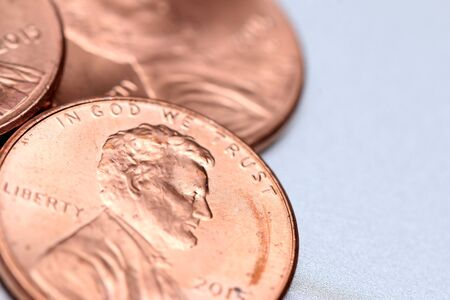 in god we trust: Pennies Stock Photo