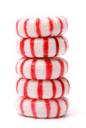 Peppermints on a white background
