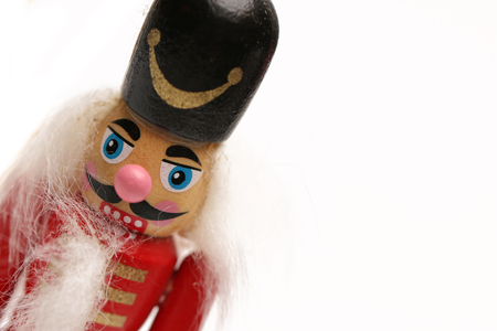 solo  christmas: A wooden nutcracker isolated on a white background