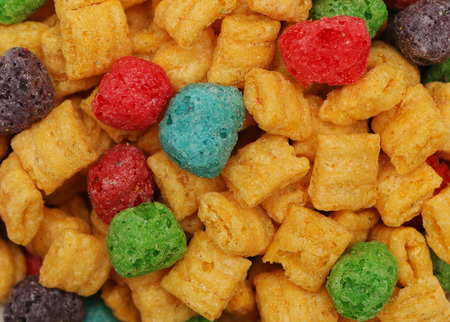 A solid background of kid's breakfast cereal