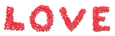 spelled: The word Love spelled out in spicy cinnamon candy