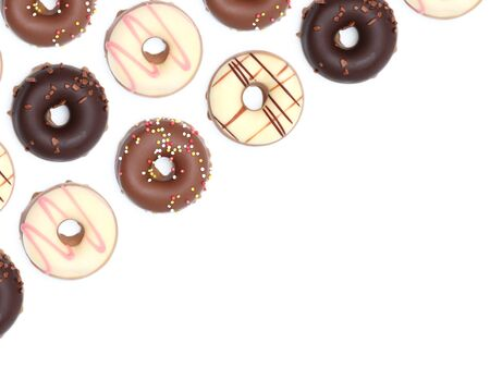 hundreds and thousands: Chocolate donuts isoalted on a white background Stock Photo