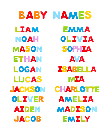 Top 10 Baby Names of 2015 Stock Photo