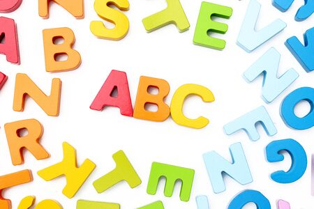 abc's: ABCs spelled with wooden blocks