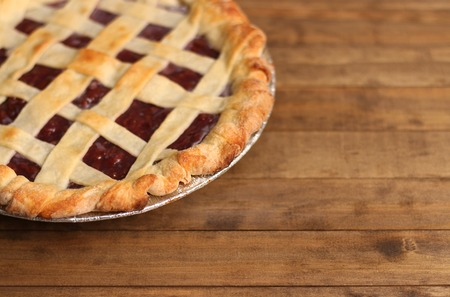 Homemade Cherry Pie in a Foil Baking Tin 스톡 콘텐츠