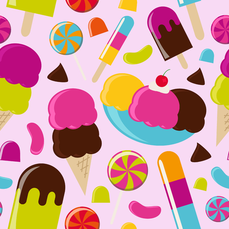 Ice Cream Parlor Seamless Background