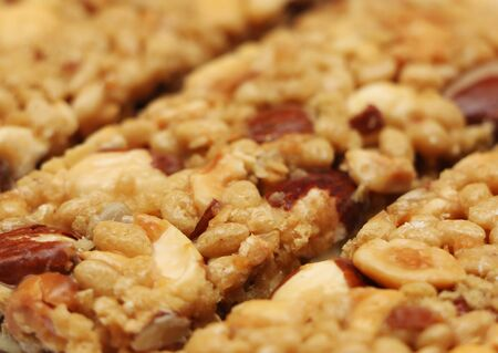 A background of healthy nutty granola bars