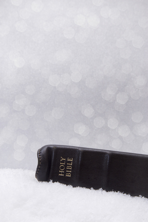 Jesus is the Reason for the Season - Bible on a Bed of Snow Banque d'images
