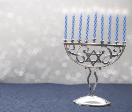 Hanukkah Menorah with Nine Candles Stock Photo