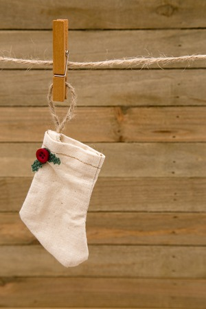 Vintage Christmas Stockings Hanging on a Clothes Line