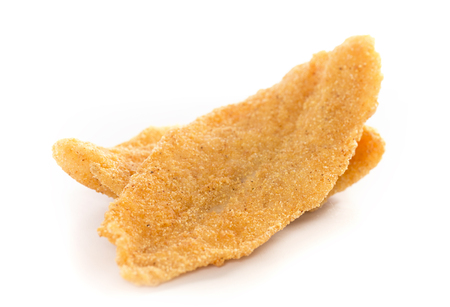 Two Fresh Fish Fillets Fried and Isolated on a White Background