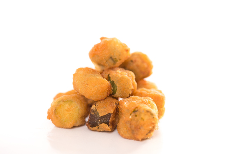 Southern Fried Okra Isolated on a White Background