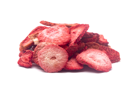Freeze Dried Strawberries on a White Background