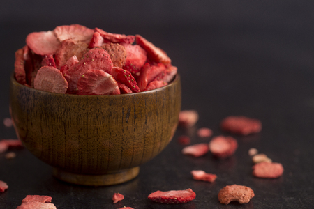 Freeze Dried Strawberries on a Slate Counter