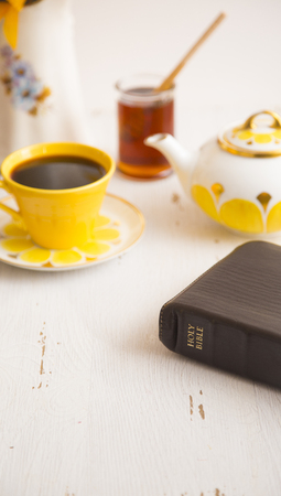 Morning Bible Study with a Hot Drink in a Yellow Tea Set
