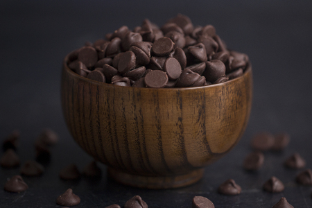 A Bowl of Chocolate Chips on a Slate Countertop