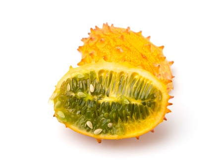 Kiwano Horned Melon on a White Background