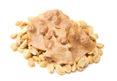 Classic Peanut Brittle on a White Background