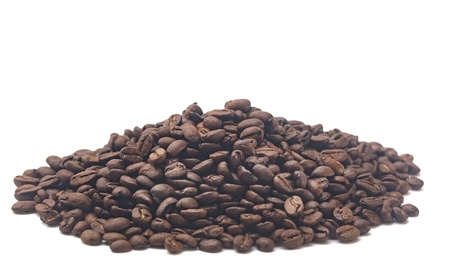 Beautiful Roasted Coffee Beans on a White Background