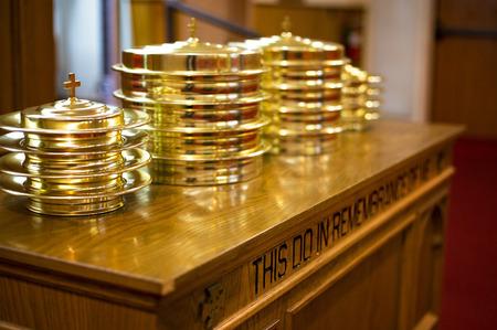 Communion Prepared for a Christian Congregation Stock Photo