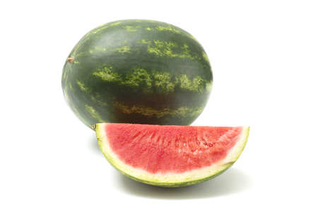 Fresh Seedless Summer Watermelon on a White Background Stok Fotoğraf