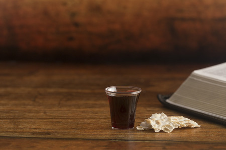 Christian Communion on a Wooden Table Banco de Imagens