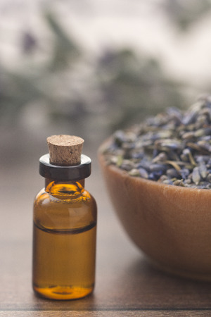 Lavender Essential Oil in a Plain Bottle
