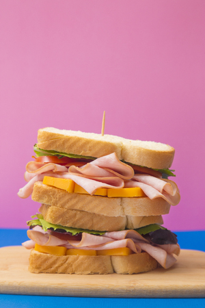 Ham Sandwich on a Blue and Pink Background
