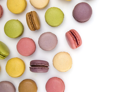 A Variety of French Macarons Flavors on a White Background 免版税图像