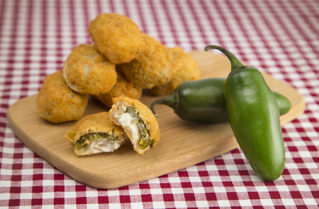 Jalapeno Poppers on a Red Gingham Tablecloth Stock Photo